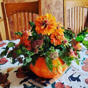 Fall Flowers arranged in a ceramic pumpkin