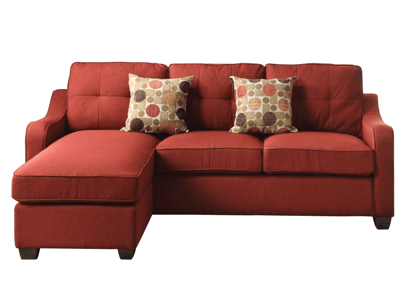 fabric reversible sectional sofa with decorative pillows red