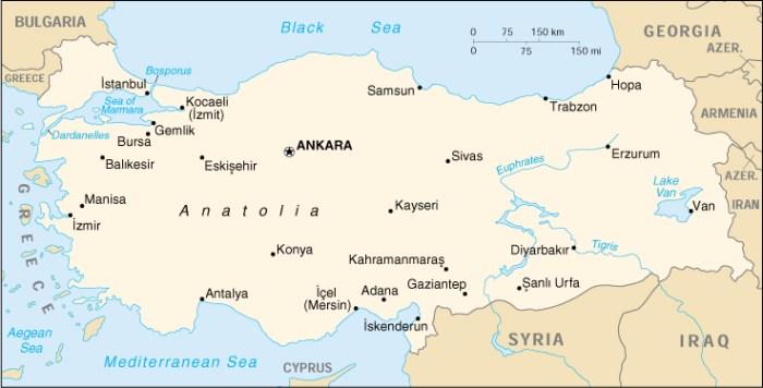 Mappa della Turchia