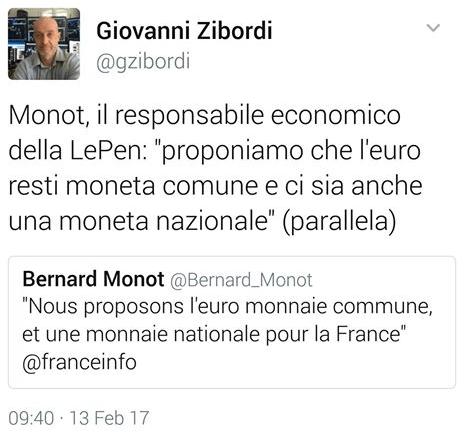 Le Pen e Monot - doppia circolazione Euro - moneta nazionale