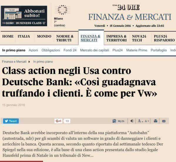 USA class action contro Deutsche bank Sole 24 ore