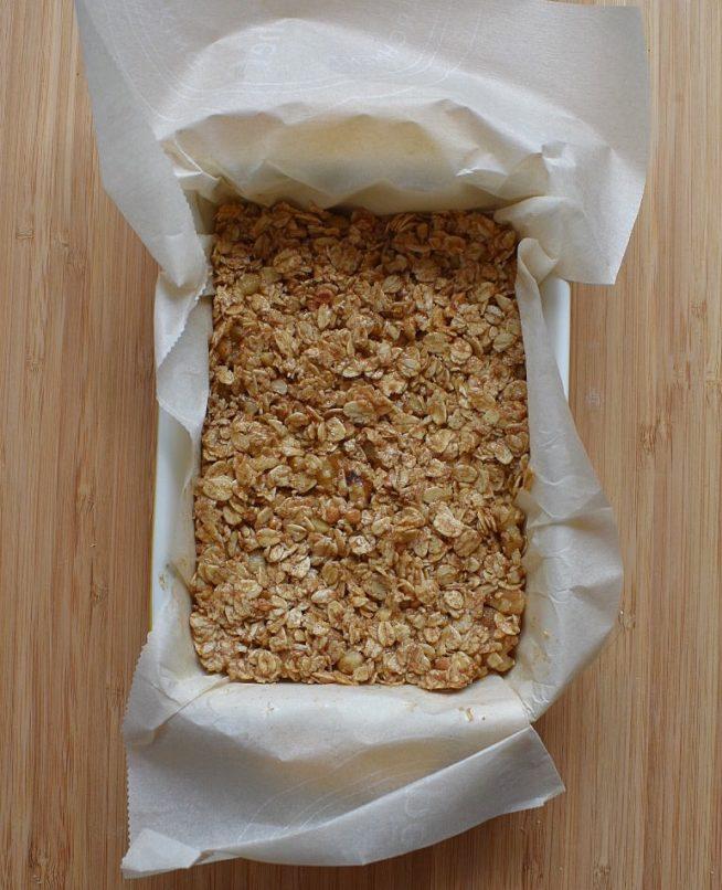 Low Sugar Granola Bars in Baking Dish