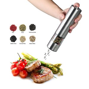 1. iBunny Premium Stainless Steel Electric Pepper Grinder or Salt Grinder Mill, Battery Operated with Light and Adjustable Ceramic Grinder