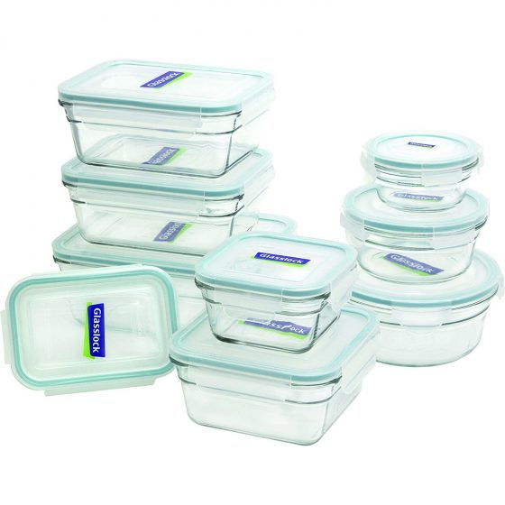 6. Glasslock 18-Piece Assorted Oven Safe Container Set