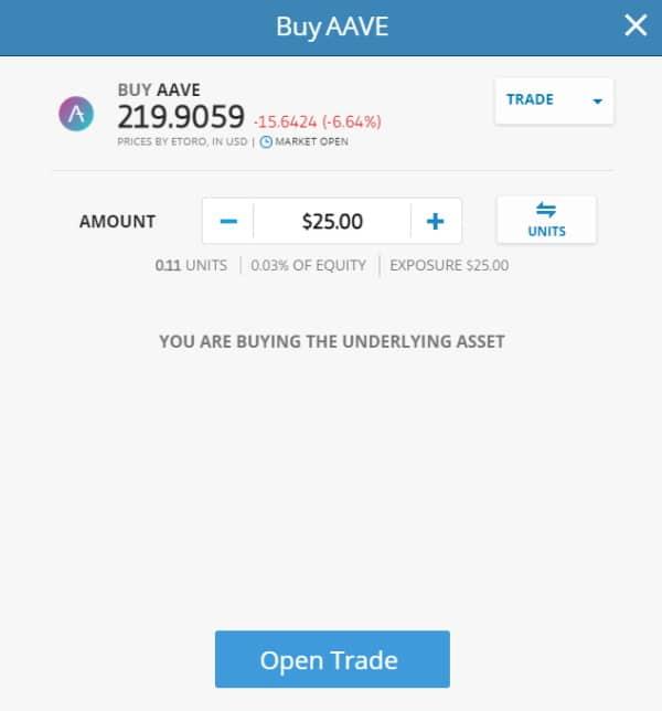 Buy AAVE on eToro