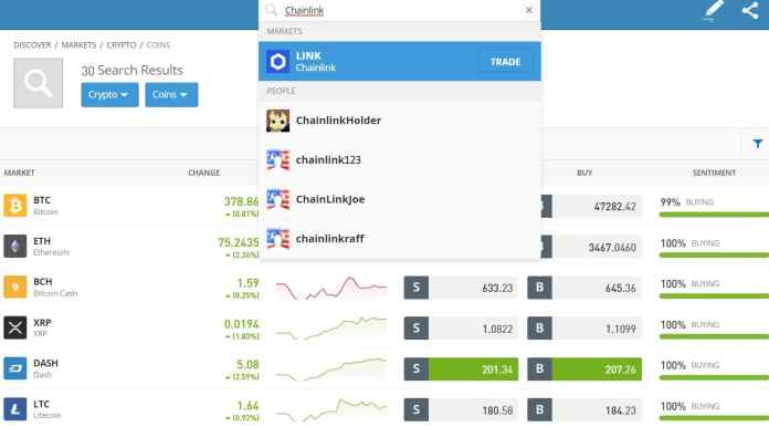 Chainlink search page