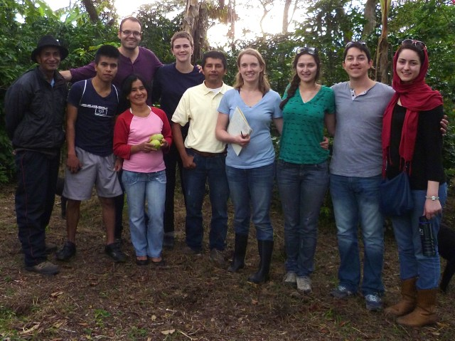 Coffee growers from Cauca, Colombia with the 2015 SMART team: Juan N. Hernandez-Aguilera, Colleen Anunu, Mary Kate Wheeler, Romane Viennet, Hernando Gruesso, and Fatma Rekik. Team members not in the photo are Nidy Muñoz and Clemente Avila.