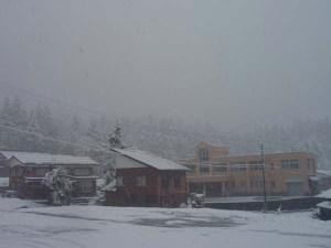 11月3日9時撮影。小学校の後に見えるはずの栃窪のシンボルである「たる山」が、降り続く雪でみえません。