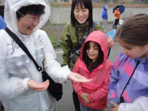 早朝のバードウォッチングでの一コマ。地元の子どもも一緒になって楽しみました。