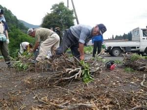 木で木を縛る「柴木造り」。参加者も挑戦しましたが、地元の人の技には敵いません。