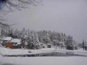 雪景色の栃窪。静かできれいな光景です。