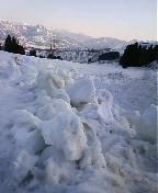 夕暮れのイロハ田んぼです。最近雪融けを促すための「雪起こし」をしたところです。