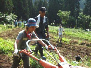 ソバの種まき。耕うん機に挑戦。たくさんのレバーがあって、コツを掴むまでが大変でした。