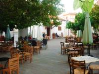 Square with traditional cafe