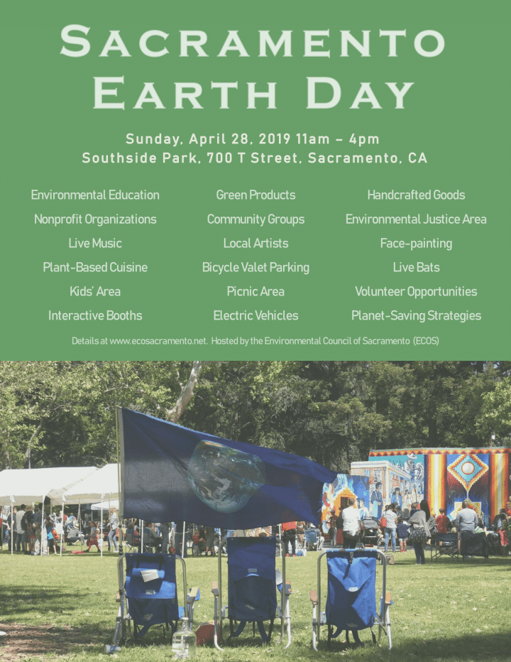 three chairs on lawn facing stage with planet flag at Sacramento Earth Day
