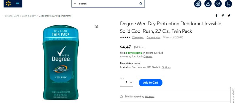 Envíos aéreos de artículos de aseo personal - desodorante hombre