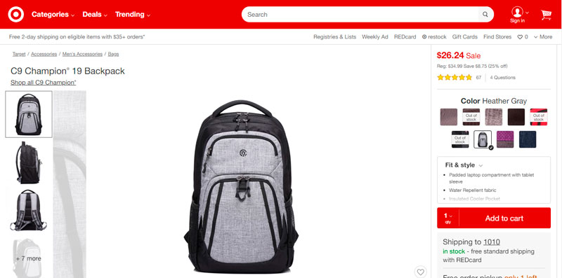 C9 Champion® 19 Backpack por $26.24