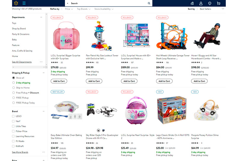 sección de juguetes, que tiene Walmart
