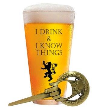 """Vaso de Cerveza """"I Drink & I Know Things"""" de 17 onzas + Abrebotellas """"Hand of the King"""""""