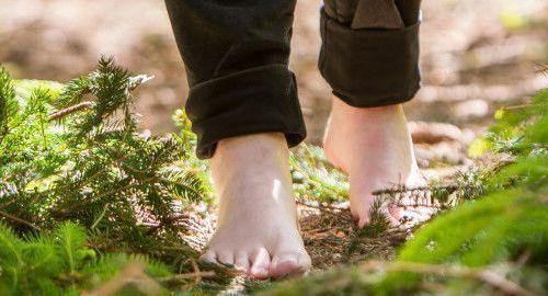 Caminar descalzo por el bosque