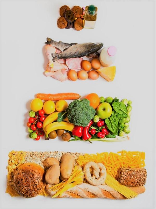La pirámide nutricional incluye recomendaciones para mantener un estilo de vida saludable