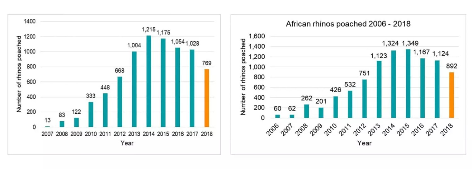 Africa Rhino stats from 2008 to 2018