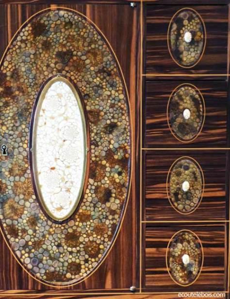 cabinet art-déco clément mère ébène de macassar cuir gauffré et ivoire ecoutelebois