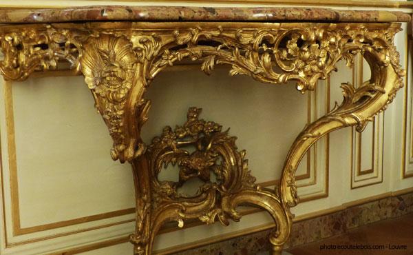 console bois sculpté Louis XV Louvre
