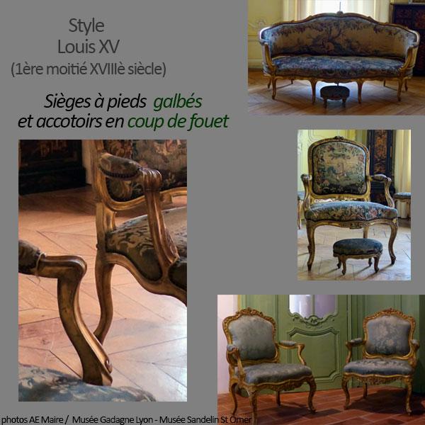 mobilier Louis 15 chaises fauteuils pieds galbés