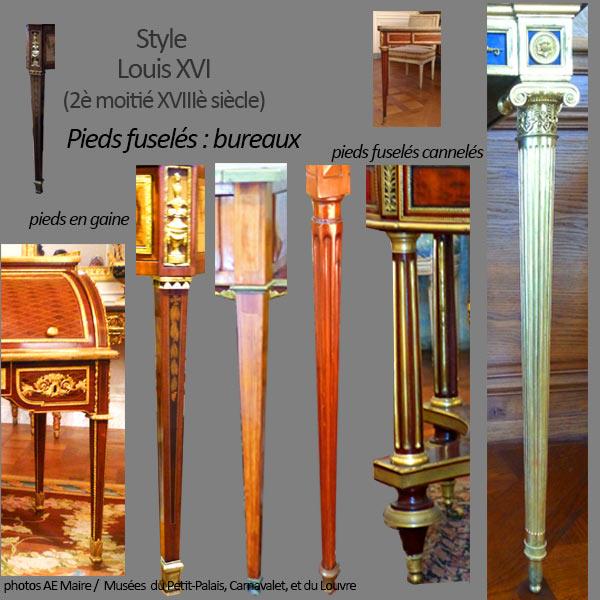 mobilier Louis 16 pieds fuselés bureaux et tables ecoutelebois