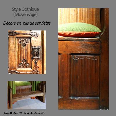 mobilier gothique décor en plis de serviette