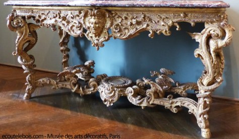 table console chêne sculpté doré fin Louis XIV