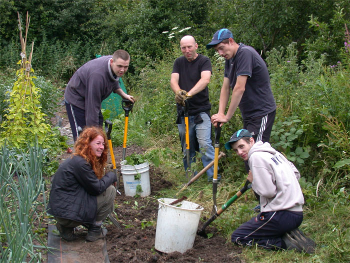 Trainees on Community Garden