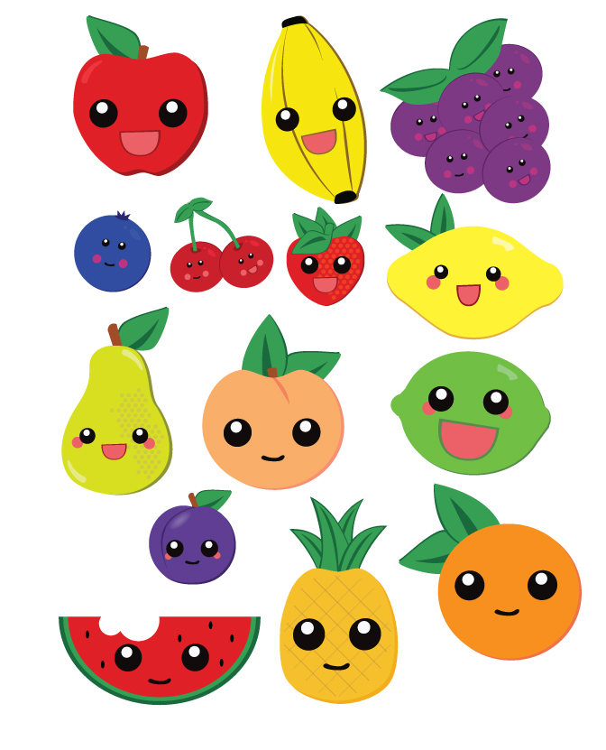 Some of the anthropomorphic fruit I've created for this project thus far...