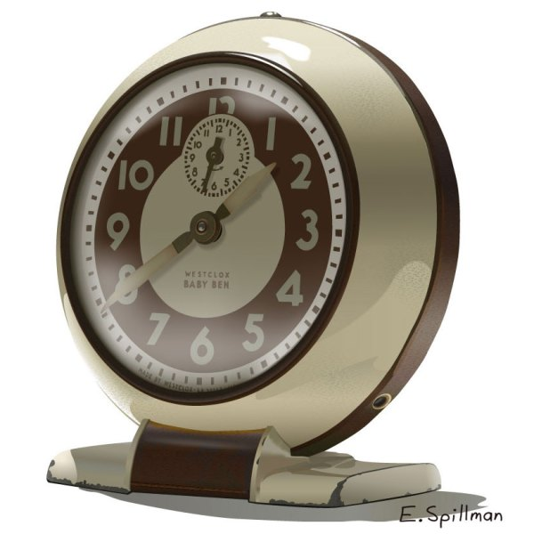Antique Clock vector art by E. C. Spillman