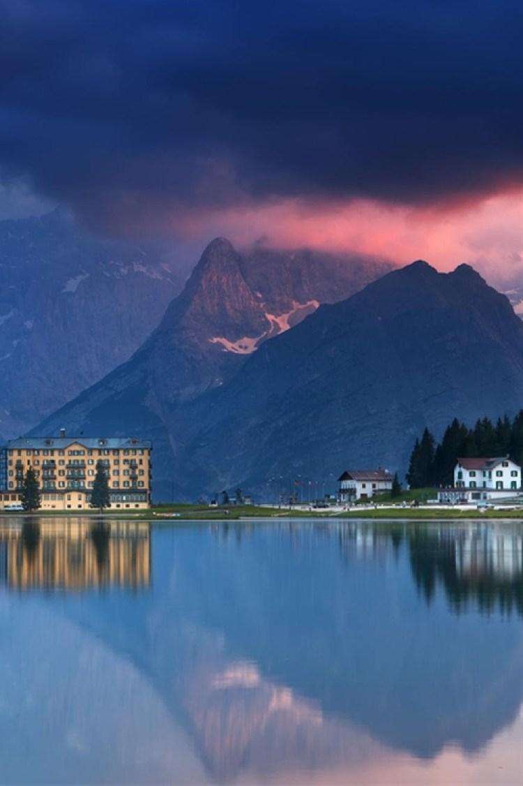 Evening on Misurina lake -province of Belluno , Veneto Italy