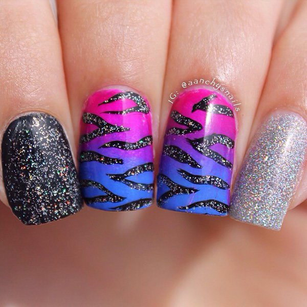 100 cute and easy glitter nail designs ideas to rock this year animal print glitter nail art design prinsesfo Image collections