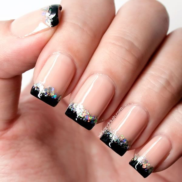 100 cute and easy glitter nail designs ideas to rock this year french tip glitter nail art design prinsesfo Choice Image