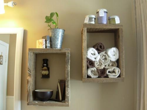 Rough cut rustic wood shelves