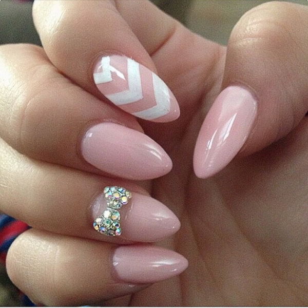 30 cute cool and simple bow nail art designs for girls baby pink and white bow nail art design perfect for you prinsesfo Gallery