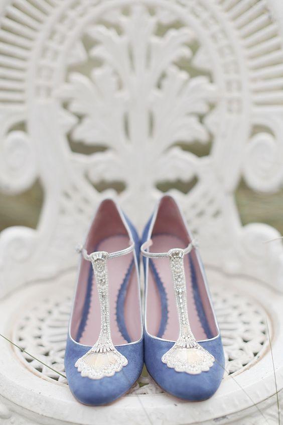 Stunning Art Deco Inspired Blue Wedding Shoes