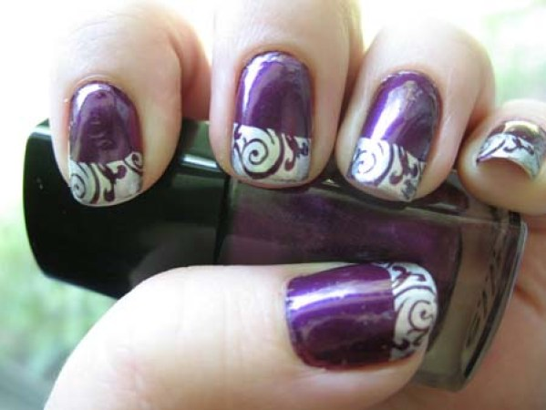60 awesome french nail designs that will blow your mind abstract nail design in violet prinsesfo Image collections