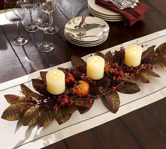 Genial Beautiful Fall Leaves Pine Cone And Candles For