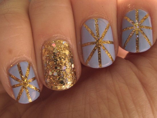 40 best examples of gold glitter nail polish art just for you gold glitter nails designs 8 prinsesfo Images