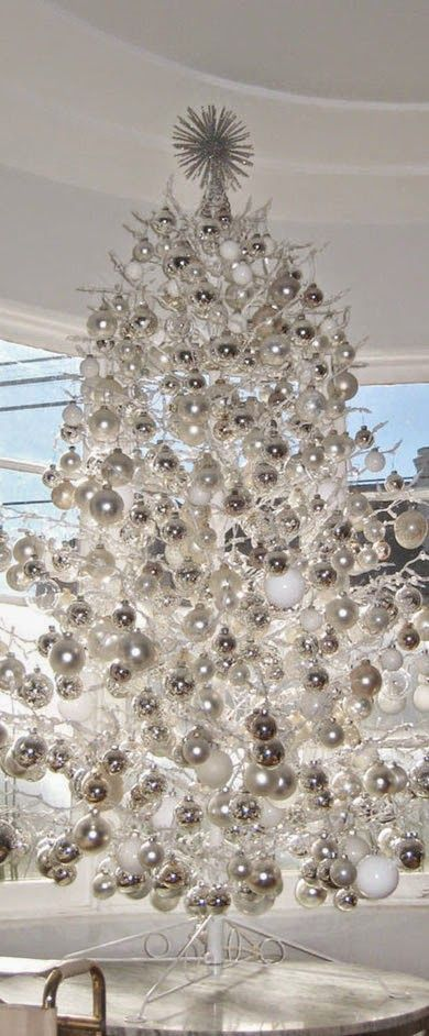 white and silver christmas tree1