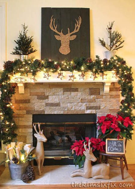 Rustic Christmas Home Decorating Ideas. All Reindeer Mantle Decoration