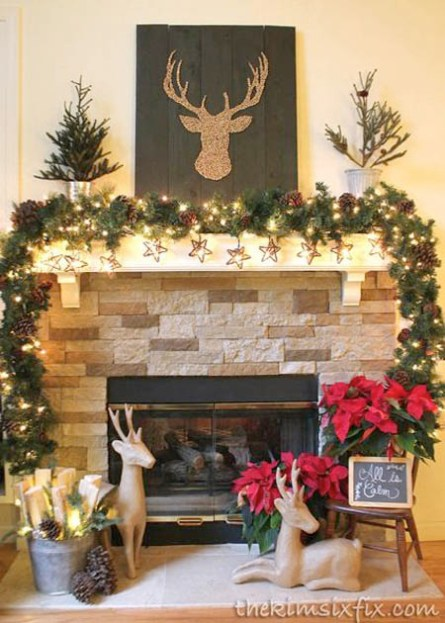 rustic christmas home decorating ideas all reindeer mantle decoration - Rustic Christmas Decorating Ideas