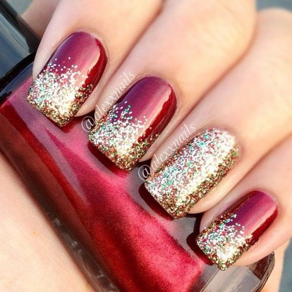 45 gorgeous nail art design for new years eve ecstasycoffee christmas glitter nail art designs prinsesfo Image collections