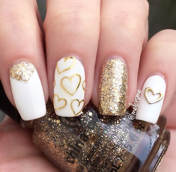 46 Cute Gold Nail Art Designs and Ideas for 2017 » EcstasyCoffee