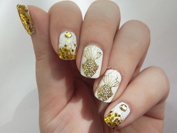46 Cute Gold Nail Art Designs and Ideas for 2017 - EcstasyCoffee